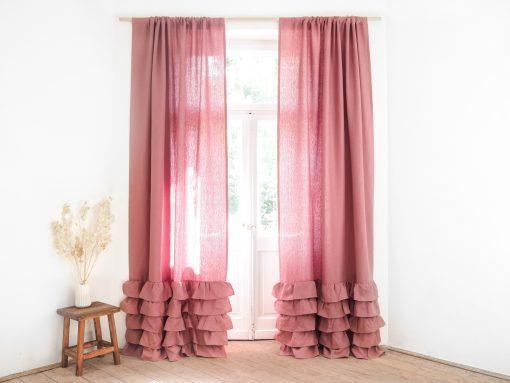 Pink ruffled heavy linen curtain