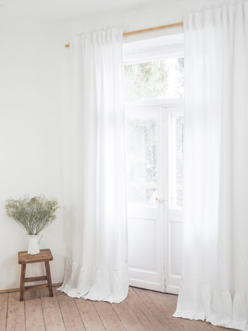 White heavy linen curtains