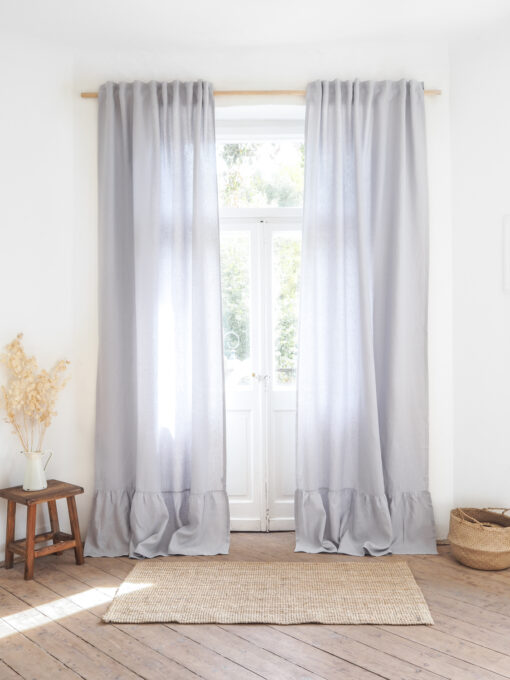 Light gray heavy linen curtains