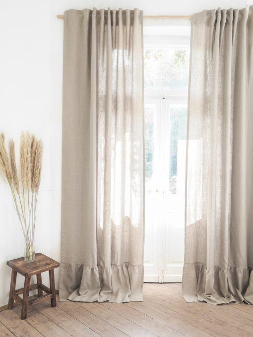 Beige heavy linen curtains