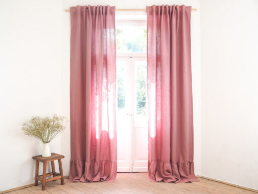 Pink heavy linen curtains