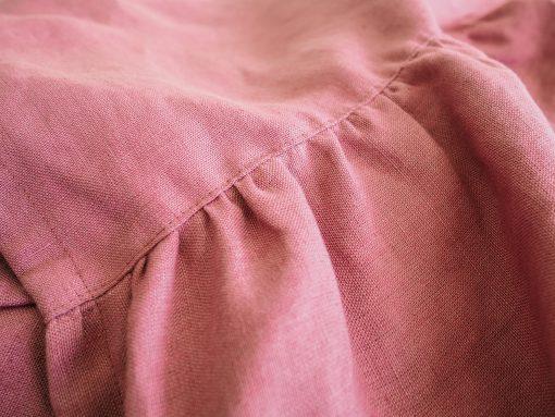 Solidne różowe lniane zasłony