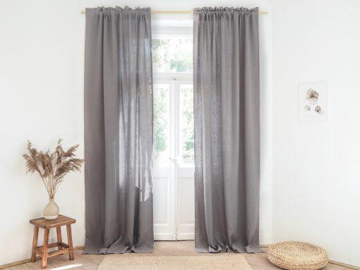Gray room darkening linen curtains