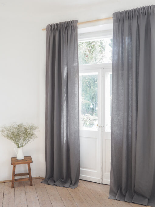 Gray solid linen curtains with tape