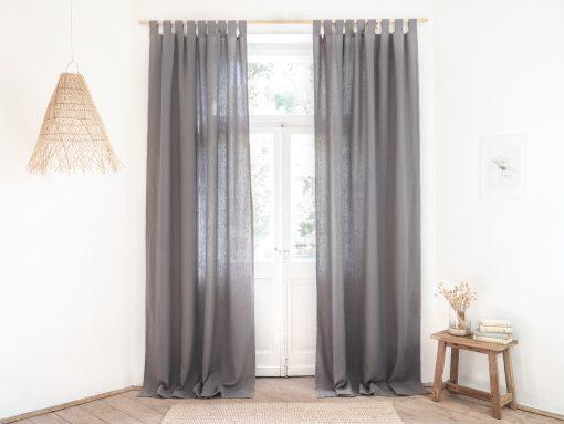 Gray heavy weight linen curtains