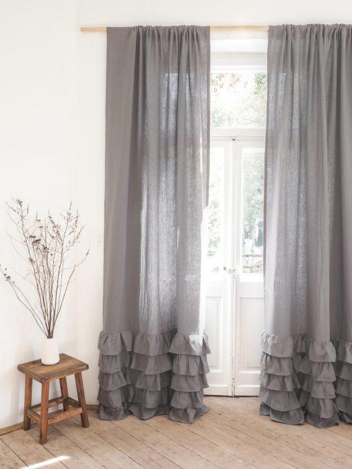 Gray ruffled heavy linen curtain