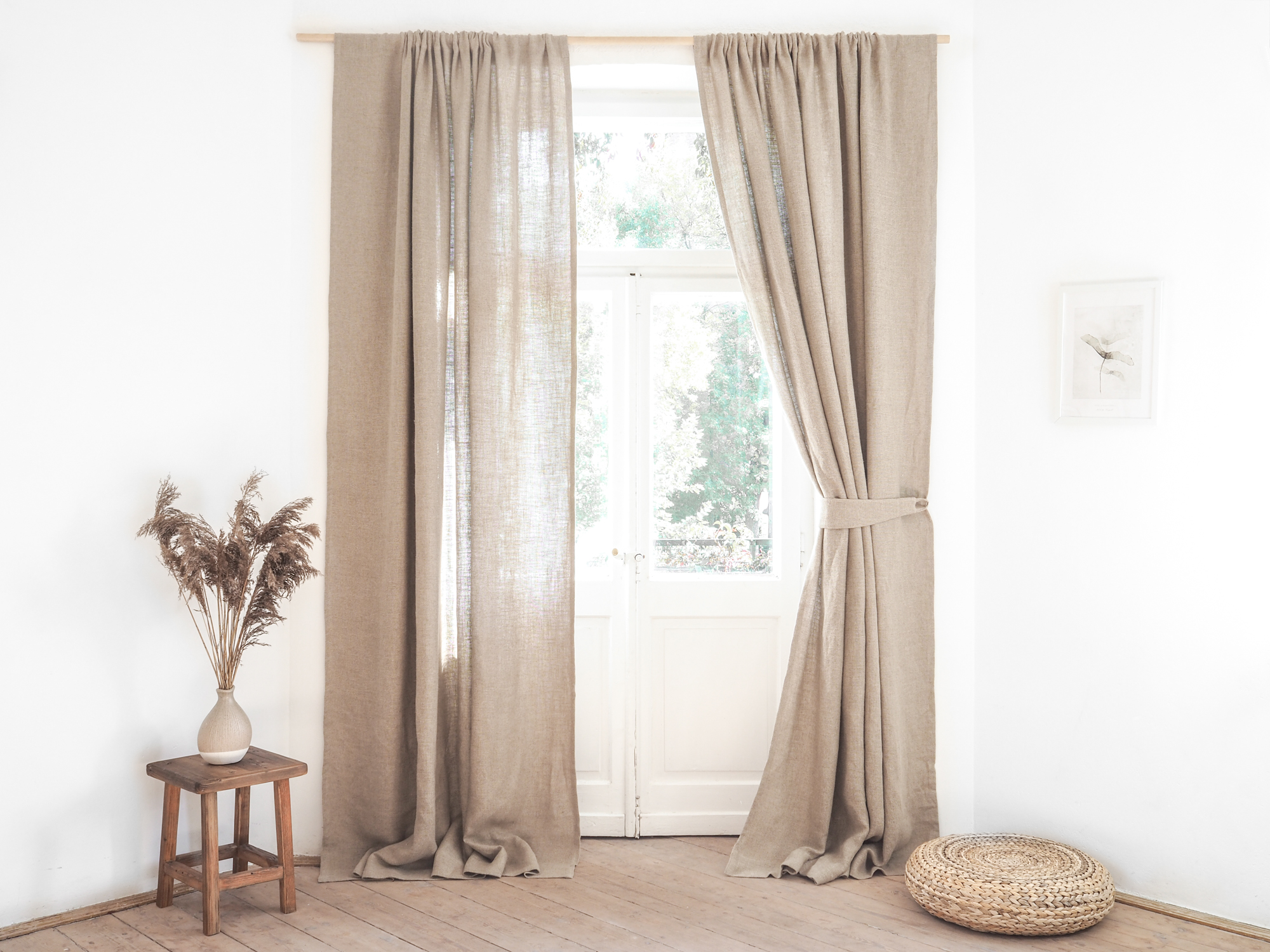 Linen burlap curtain tie backs
