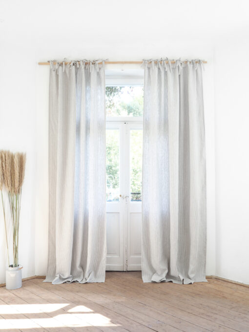 Striped tie top heavy linen curtains