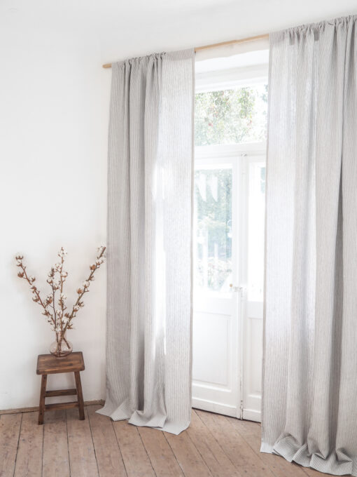 Striped heavy linen curtains