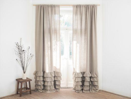 Rüschen dicke Leinen Vorhang