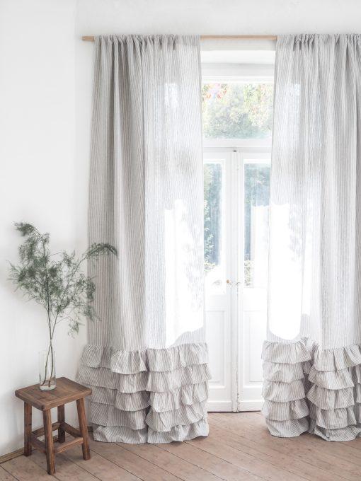 Striped ruffled heavy linen curtain