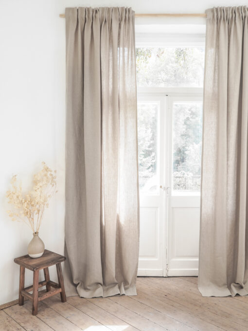 Solid linen curtains with tape