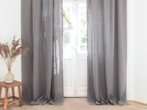 Gray heavy linen curtains