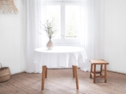 White round linen tablecloth