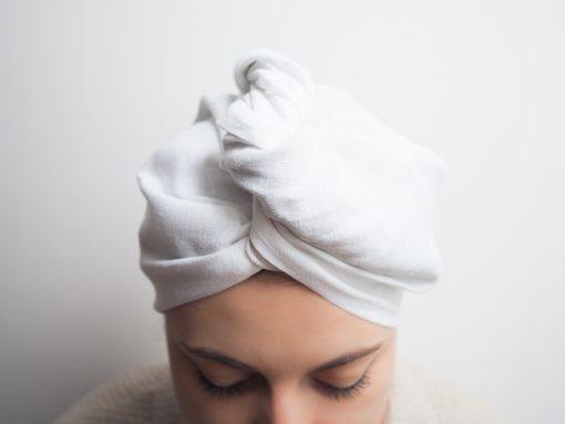 Biały turban kąpielowy