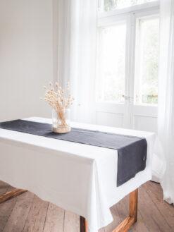 Grafitowy lniany bieżnik na stół
