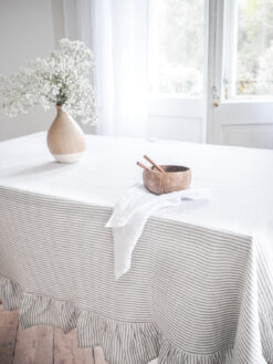 Striped thick linen tablecloth