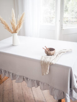 Light gray thick linen tablecloth