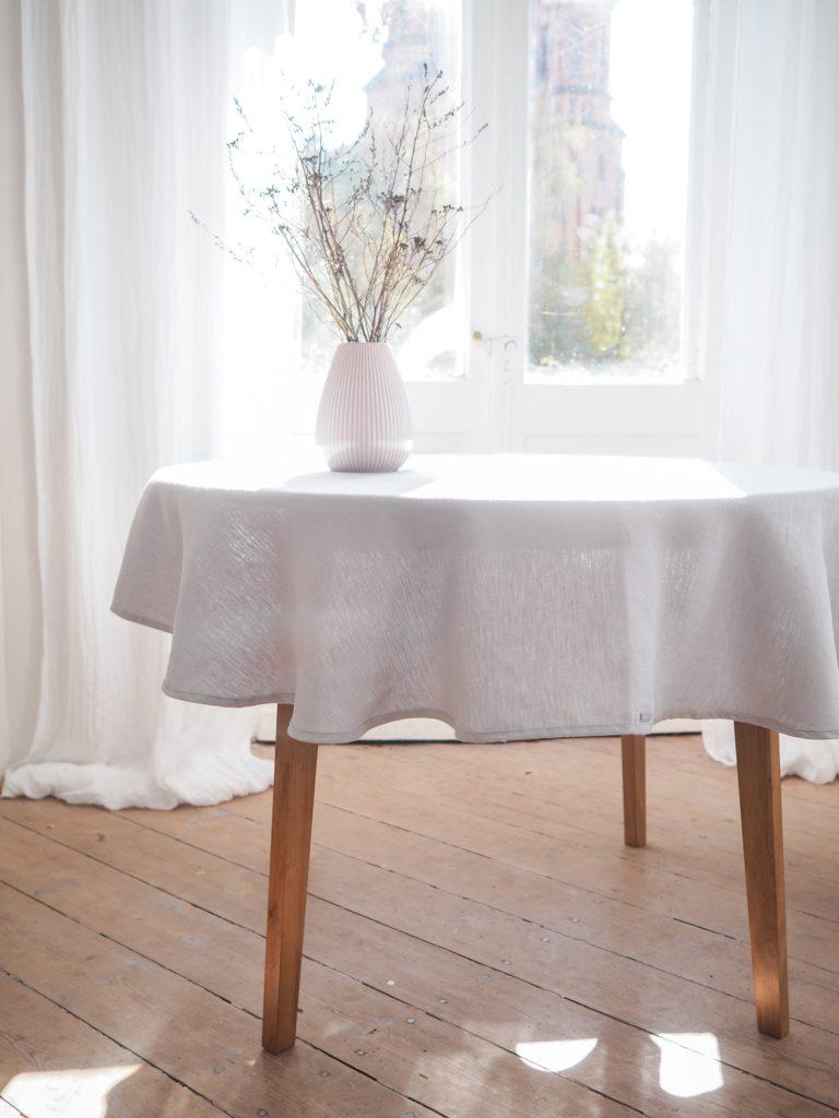 Round lightgray linen tablecloth