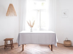 Light gray solid linen tablecloth