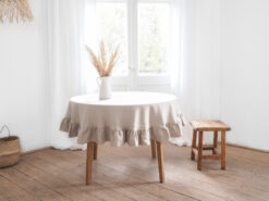 Ruffled round linen tablecloth
