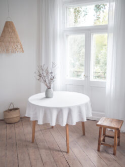 Striped round linen tablecloth