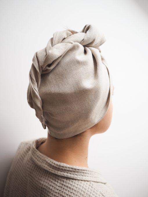 Lniany ręcznik do włosów
