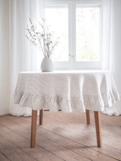 Striped round ruffled linen tablecloth