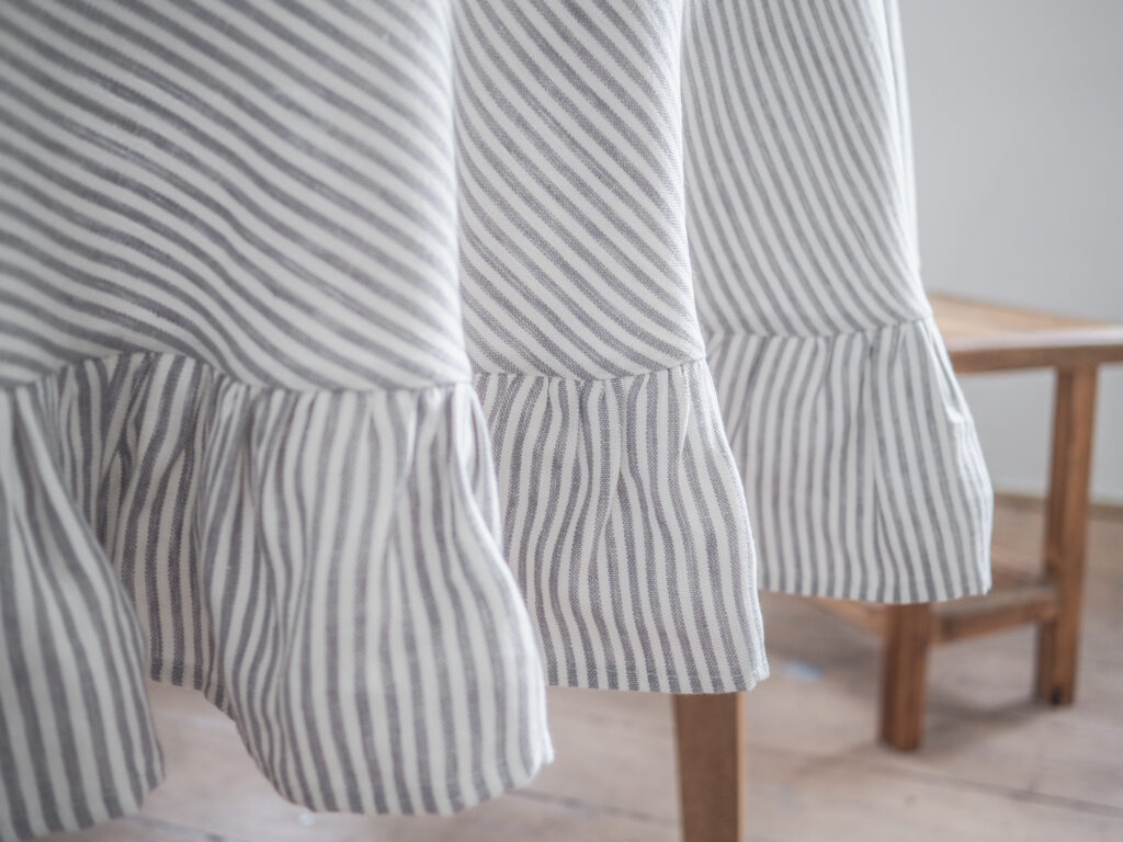 Round striped linen tablecloth