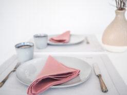 Solid pink linen napkins