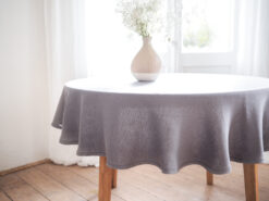 Gray round linen tablecloth