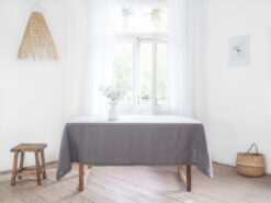 Gray solid linen tablecloth