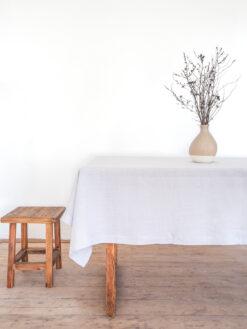 Light gray linen tablecloth