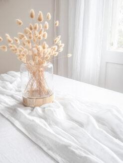 white linen muslin runner
