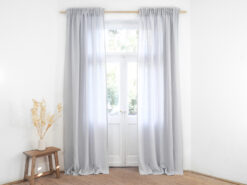 Light gray linen curtain panel with gathering tape