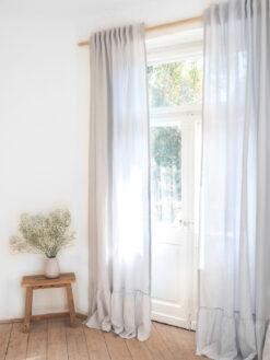 Semi sheer light gray linen curtains