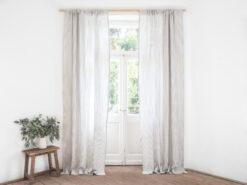 Striped linen curtain panel