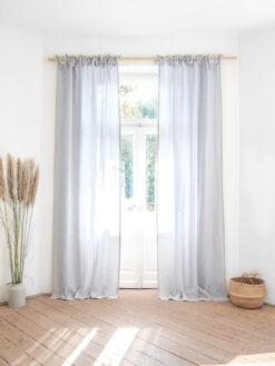 Light gray tie top linen curtains
