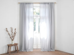 light gray linen curtain panel