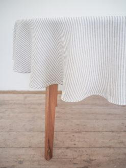 Gray stripes lniany obrus okrągły