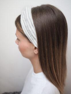 Lniana opaska w paski do włosów