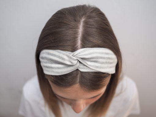 Lniana opaska w paski do włosówP6110558