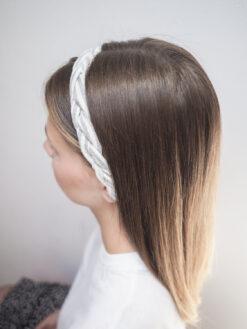 Lniana opaska w paski warkocz do włosów