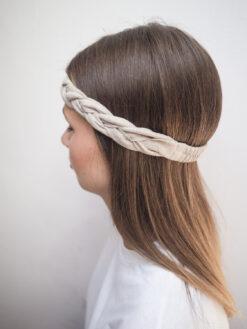 Lniana opaska warkocz do włosów