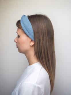 Niebieska lniana opaska do włosów