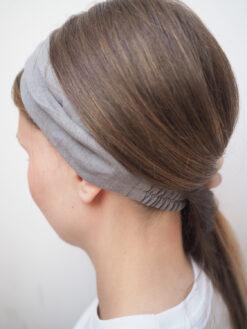 Szara Lniana opaska do włosów