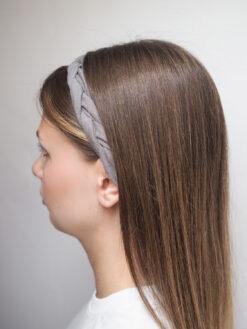 Szara lniana opaska warkocz do włosów boho