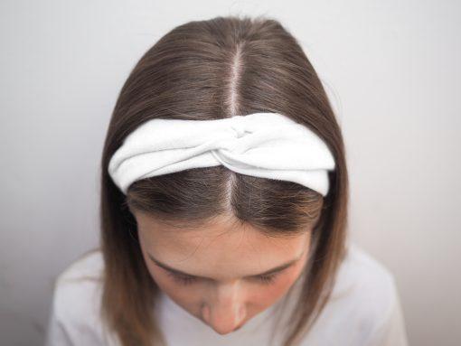 biała Lniana opaska do włosówP6110576