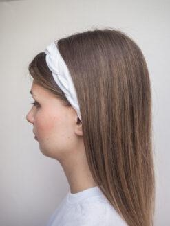 biała Lniana opaska warkocz do włosów boho