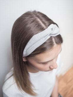 jasnoszara Lniana opaska do włosów